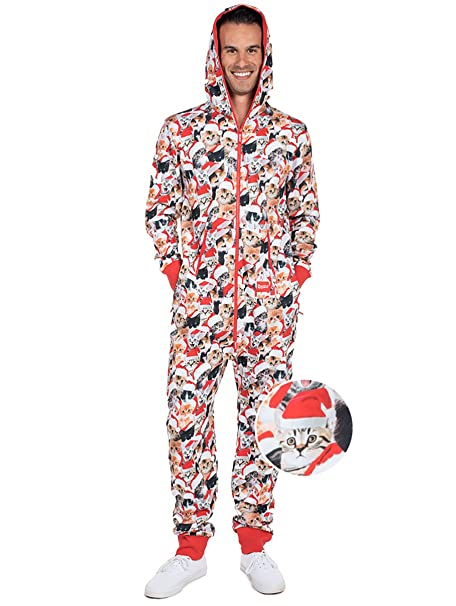 0d36d5633f1 Tipsy Elves Meowy Catmus Ugly Christmas Sweater Party Jumpsuit - Adult  Christmas Cat Onesie  X