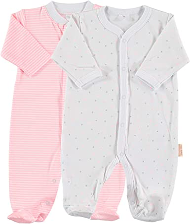 Petit Oh! - Pack de 2 Pijamas de Manga Larga para bebé 100% algodón Pima Talla 3-6 Meses (Listado Rosa + Estrella Rosa): Amazon.es: Ropa y accesorios