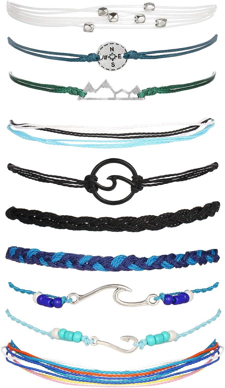 Long tiantian String Ankle Bracelets Ocean Wave Bracelet Adjustable Waterproof Handmade Strand Braided Rope Summer Sunflower Boho Bracelet Set Women Teen Girls