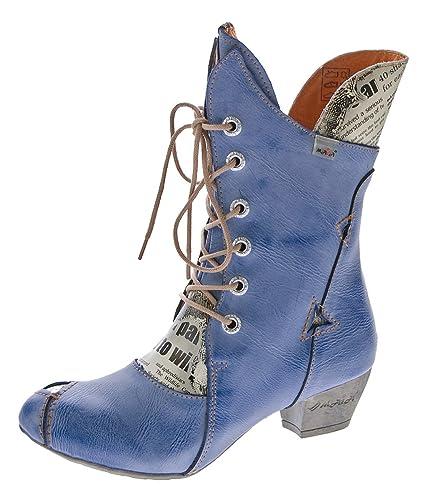 9b2f41ac250a Damen Stiefel Echt Leder Comfort Boots Schuhe TMA 7011 Stiefeletten Blau  Gr. 36