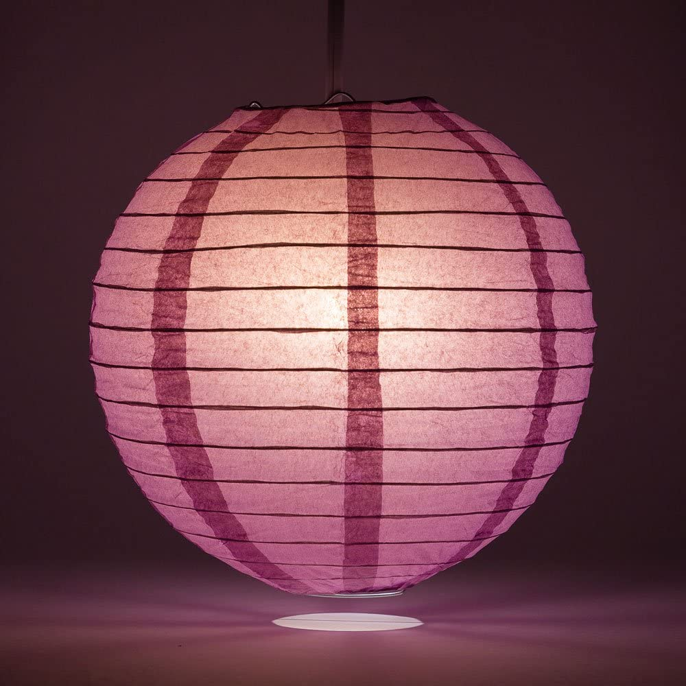 Quasimoon PaperLanternStore.com Hanging Decoration 5-Pack Even Ribbing 8 Inch Violet//Orchid Round Paper Lantern