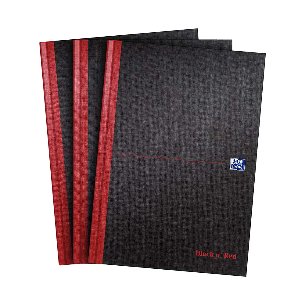 Oxford Black n' Red, A4 Notebook Hardcover, Casebound, Lined, Pack of 3