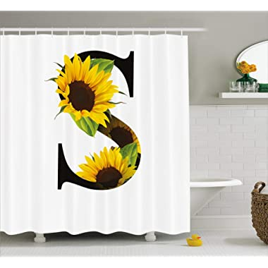 Ambesonne Letter S Shower Curtain, Letter S with Flora Elements Sunflowers on Dark Colored Abstract Art Print, Fabric Bathroom Decor Set with Hooks, 70 inches, Green Black