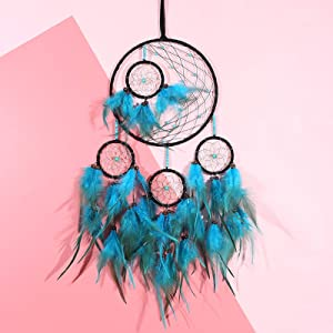 MoAndy Dream Catcher for Girls, Blue Dream Catchers, Natural Feathers with Turquoise Beads Woven Hanging Wall Decor for Nursery Women Bedroom,Teenage Girl Room Decorations