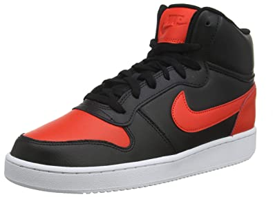 new product 00eac 411b0 Nike Mens Ebernon Mid Basketball Shoes, Multicolour (BlackHabanero  Red-White 005