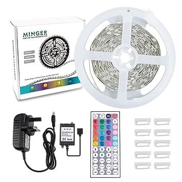 Amazon rgb minger 5m 12v led flexible strip light rgb rgb minger 5m 12v led flexible strip light rgbnon waterproof mozeypictures Images