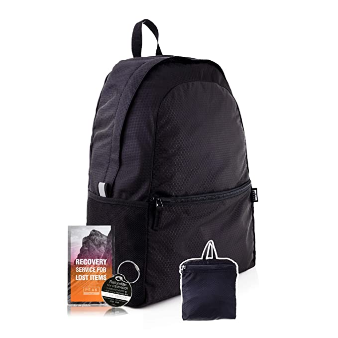 Peak Gear Foldable Backpack - Compact Packable Day Pack - Includes Lifetime Lost & Found ID