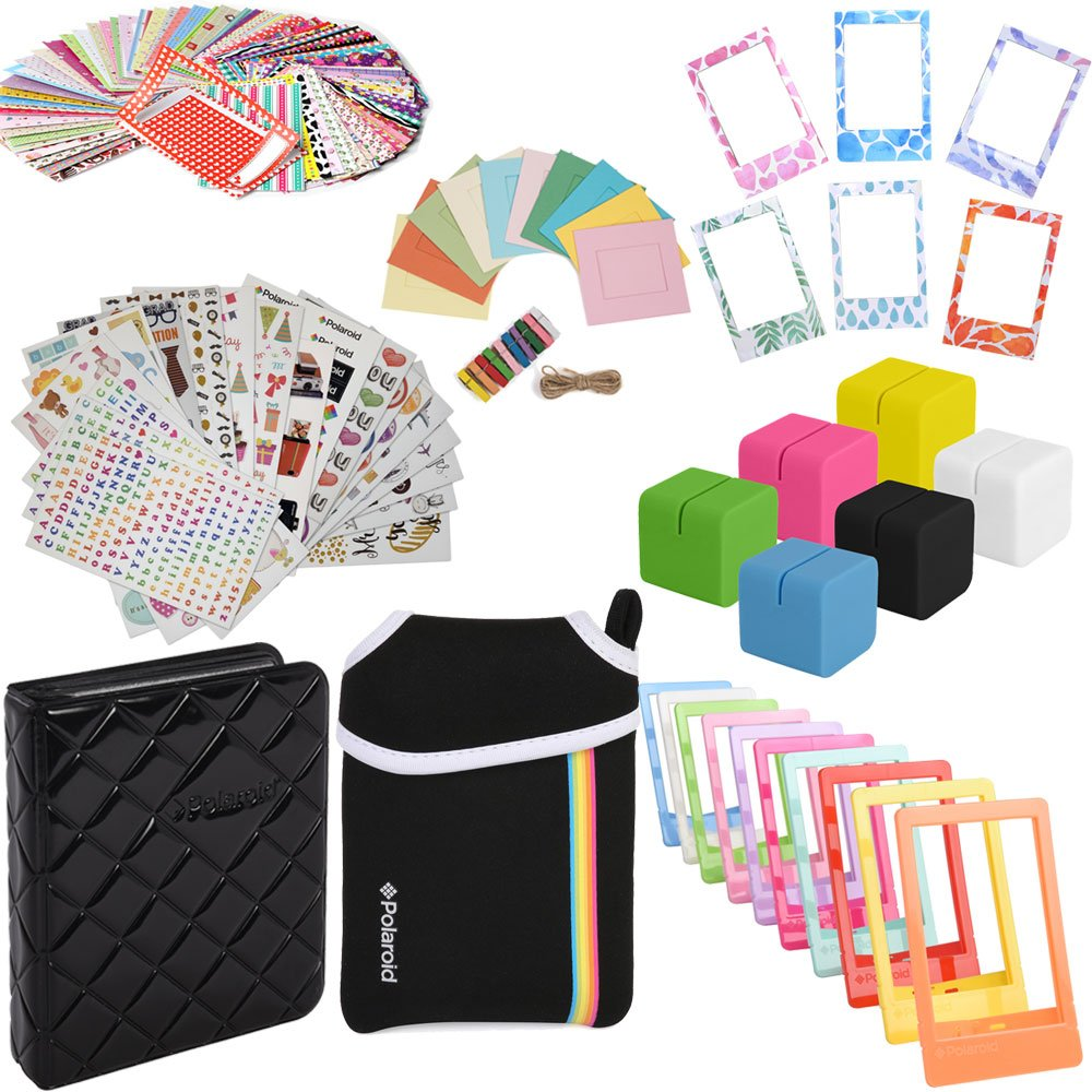 Elite Bundle - 9 Unique Sticker Sets + Pouch + Photo Album + 100 Sticker Frames + Hanging Frames + Magnet Frames + Cube Stands + Frame Stands For Fuji Instax Mini 9, 26, 8, 7 Instant Projects