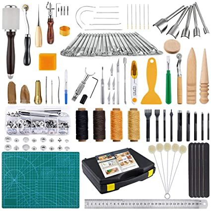 Amazon Com Caydo 99 Pieces Leather Craft Tools Kit Including