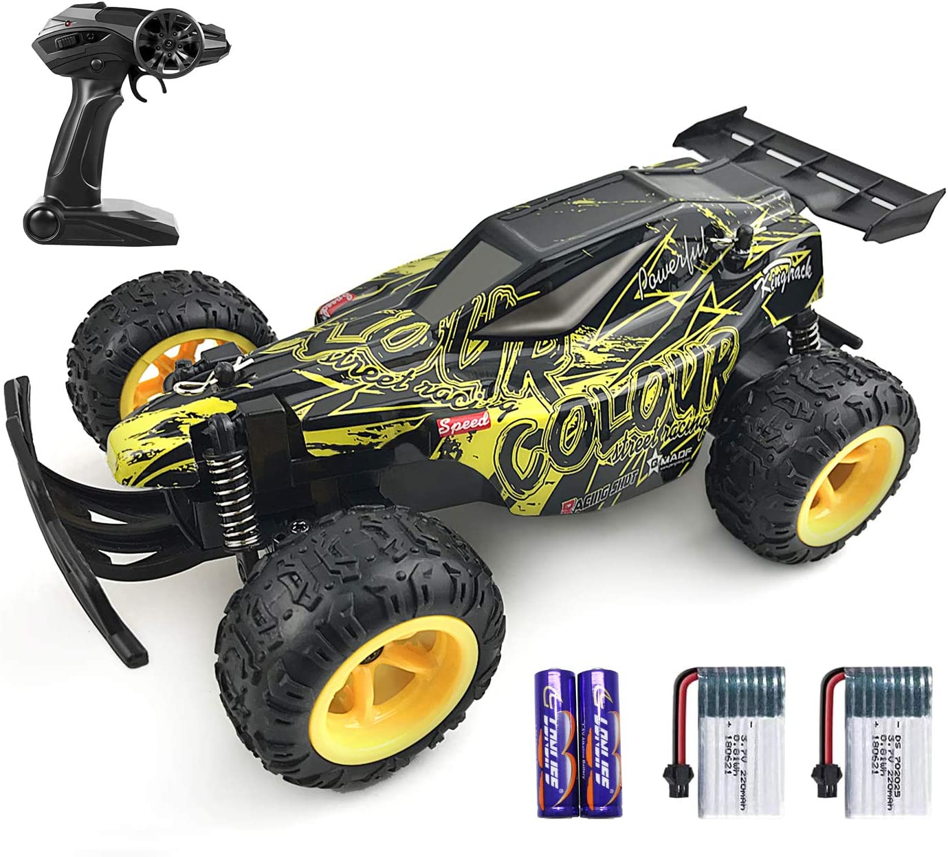2.4Ghz Wireless Receiver 1:22 High Speed Racing RC Cars with 2 Rechargeable Batteries,Toy Gifts for Kids,Black and Yellow GamePath Remote Control Car