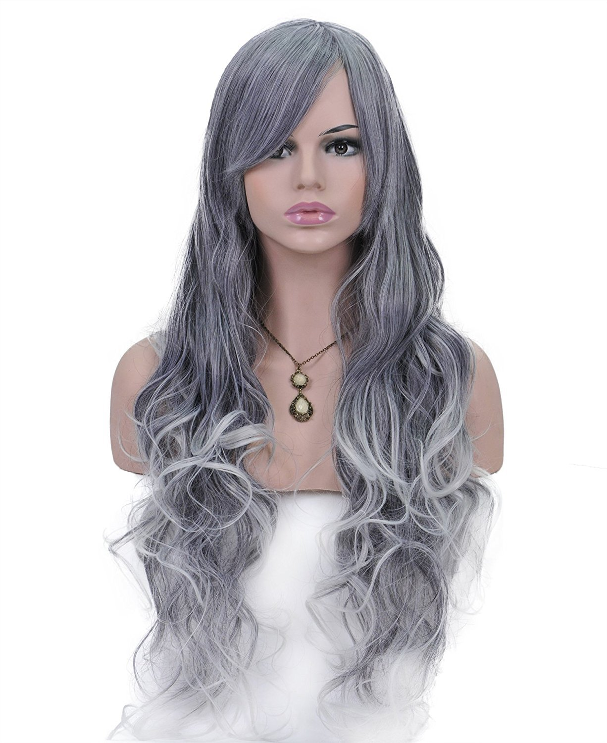 Spretty Beautiful Long Curly Heat Resistant Anime Fashion Wavy Wigs with Bangs for Cosplay Daily Party (Silver Grey)