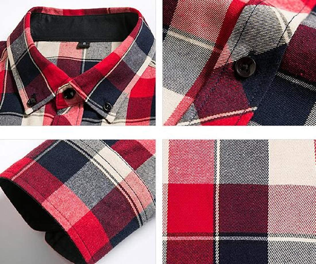 Domple Mens Casual Plaid Button Up Plus Size Long Sleeve Dress Flannel Checkered Shirt