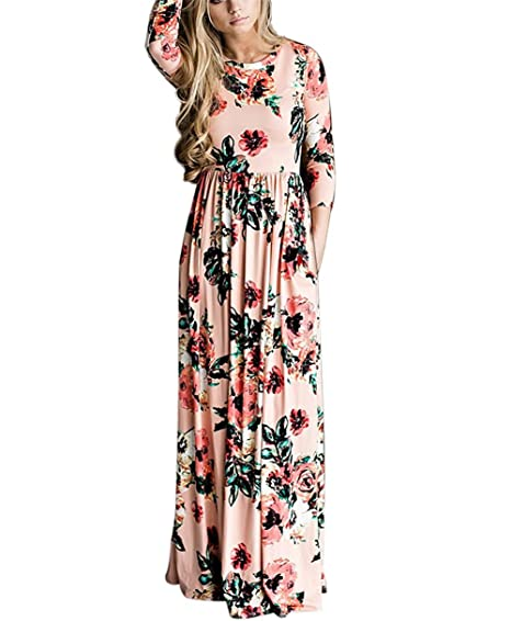 8abcfa2c85ac ReachMe Womens Floral Maxi Dresses with Sleeves Rose Flower Printed Long  Dress(Peachy Pink