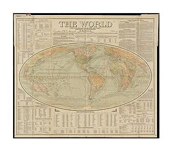 Amazoncom 1907 Map World The World Upon Globular Projection And - Us Map Globular Projection