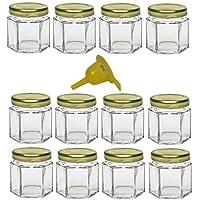 Viva Haushaltswaren 32 Mini-Einmachgläser Marmeladengläser mit weißem Deckel 47ml./6-eckig inkl. Einem Kleinen Einfülltrichter