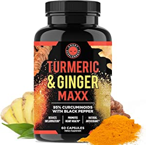 Angry Supplements Turmeric Curcumin & Ginger Maxx, 95% Curcuminoids with Black Pepper, Reduce Inflammation & Joint Support, Antioxidant, 1355mg Blend of Non-GMO Ingredients (1-Bottle)