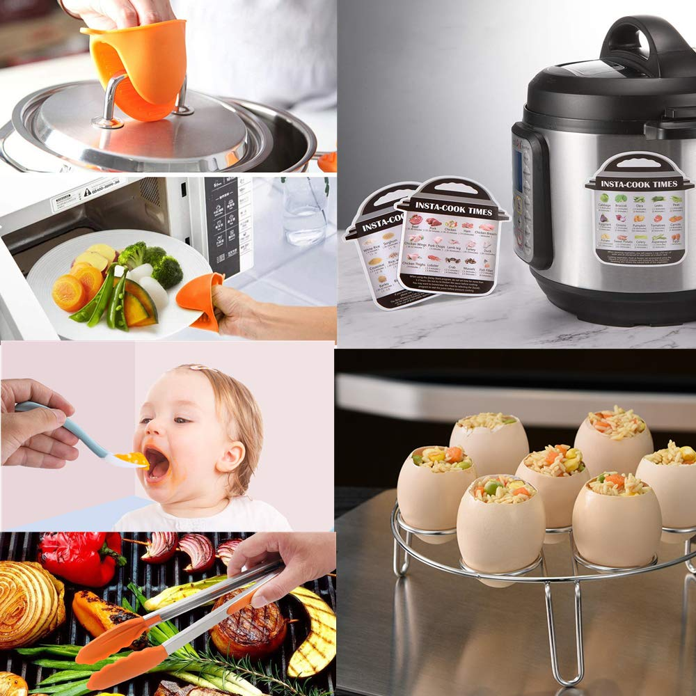 Kitchen Tong Pressure Cooker Accessories Set Compatible With Instant Pot 5 6 8 Qt Includes Steamer Basket Oven Mitts And Silicone Sponge Scrubber Egg Bites Molds Egg Steamer Rack Springform Pan Home Kitchen