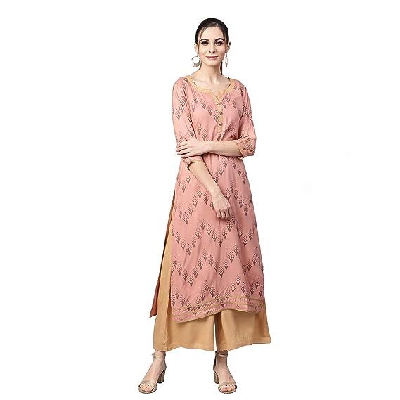 Buy Idalia Women S Rose Gold Printed Rayon Kurta With Solid Camel Palazzo Pants At Amazon In