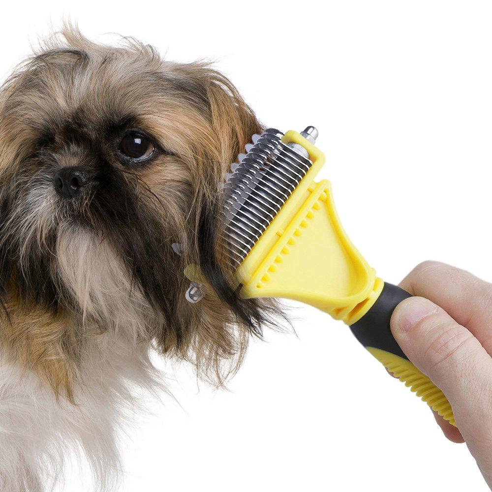 Pet Dematting Comb QPAU Deshedding Brush Grooming Comb Remove Undercoat Hair Mats Great Tool for Dog Cat Rabbit and Horse Yellow