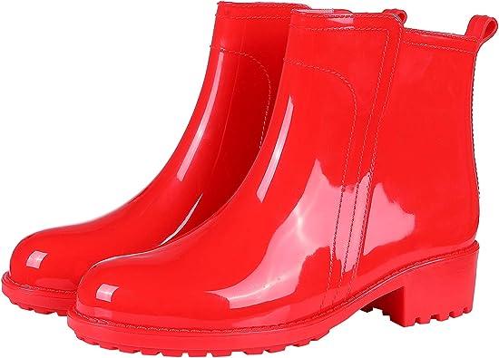 Amazon.com   Women's Ankle Rain Boots Short Slip On Waterproof Outdoor Anti  Slip Work Rain Shoes RD40 Red   Rain Footwear