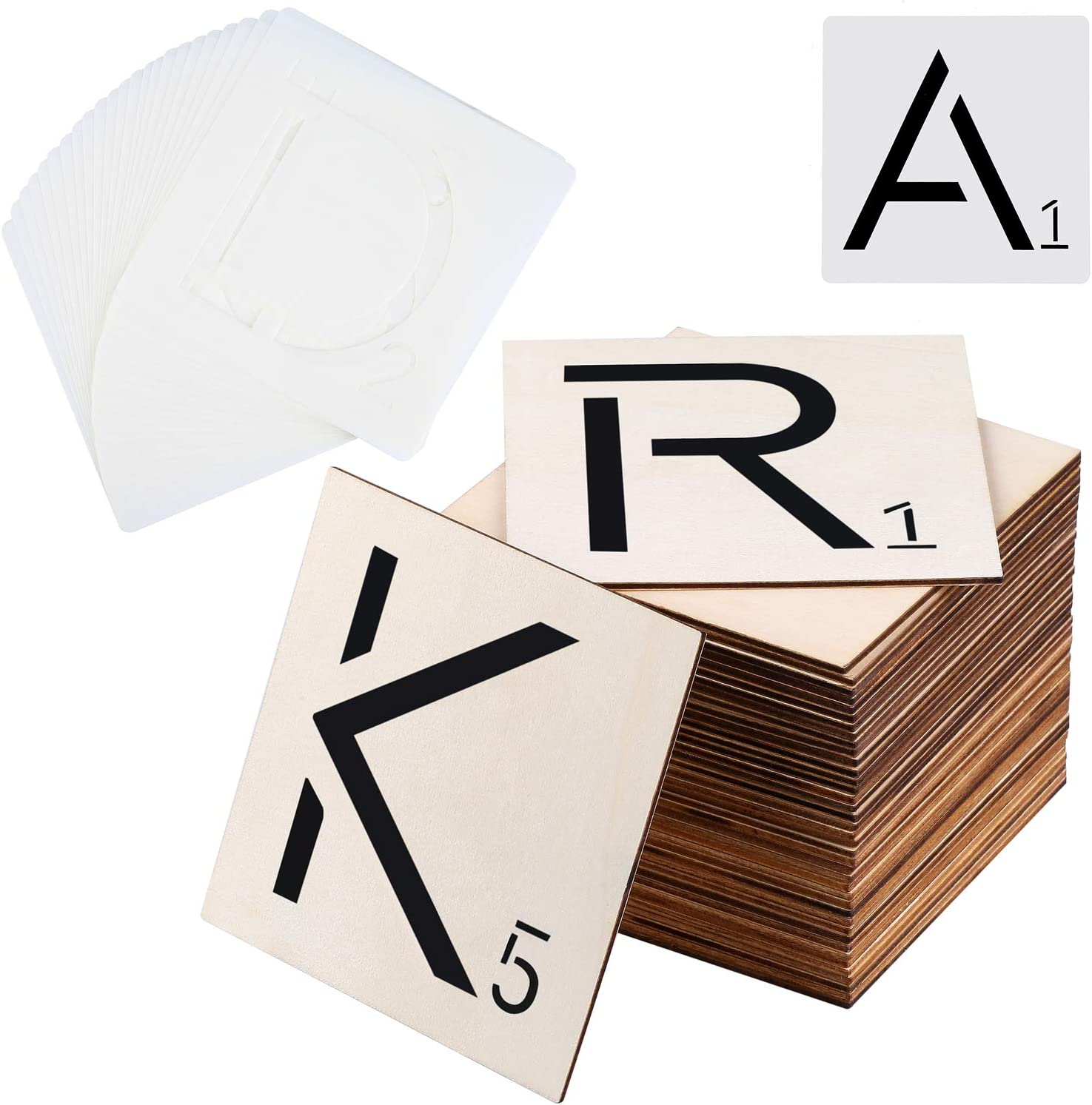 Ruisita 80 Pieces 5 x 5 Inch Unfinished Blank Wood Pieces with 26 Pieces Letters Stencils for Home Décor, DIY Projects