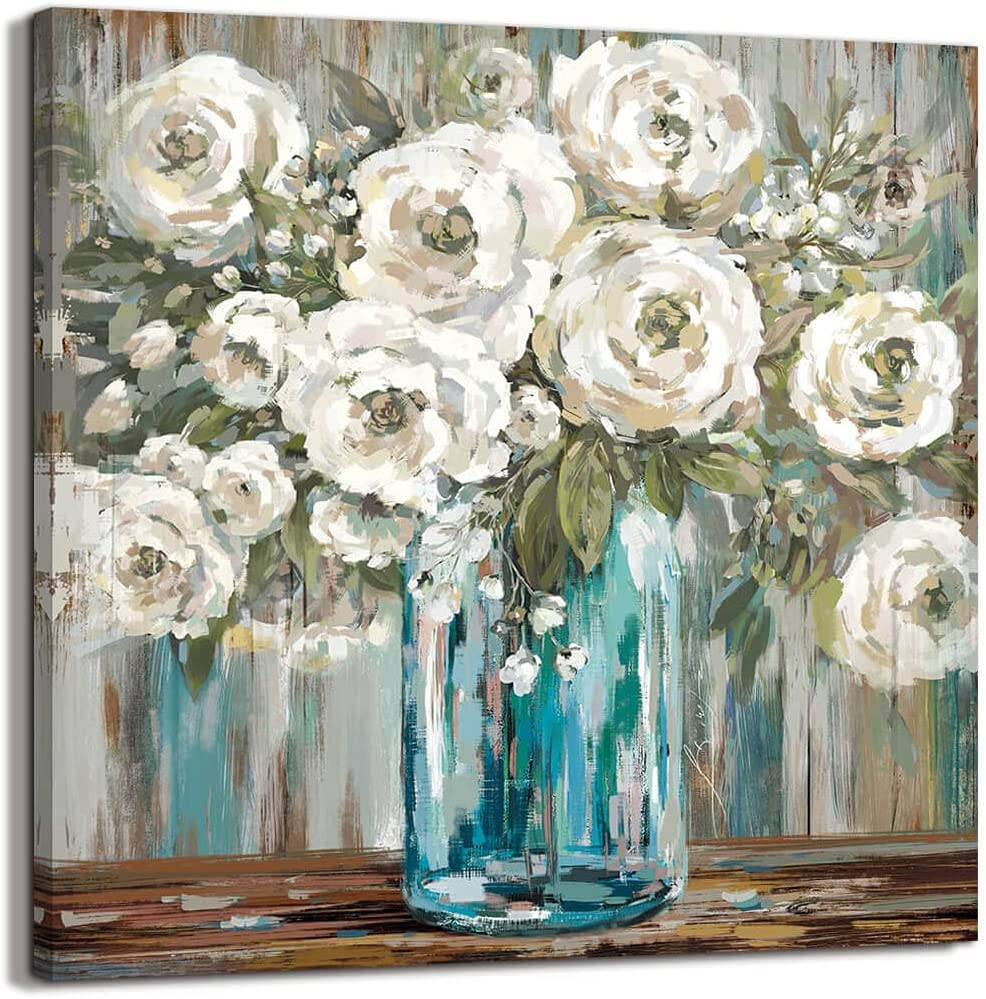Country Style Canvas Wall Art Farmhouse Decor Teal Blue Mason Bottle White Flower Original Drawing Rustic Wall Decor Art Hanging in The Bedroom Bathroom Living Room Dining Room Office Fireplace Kitchen Murals (neutral colour 1, 13.4x13.4)