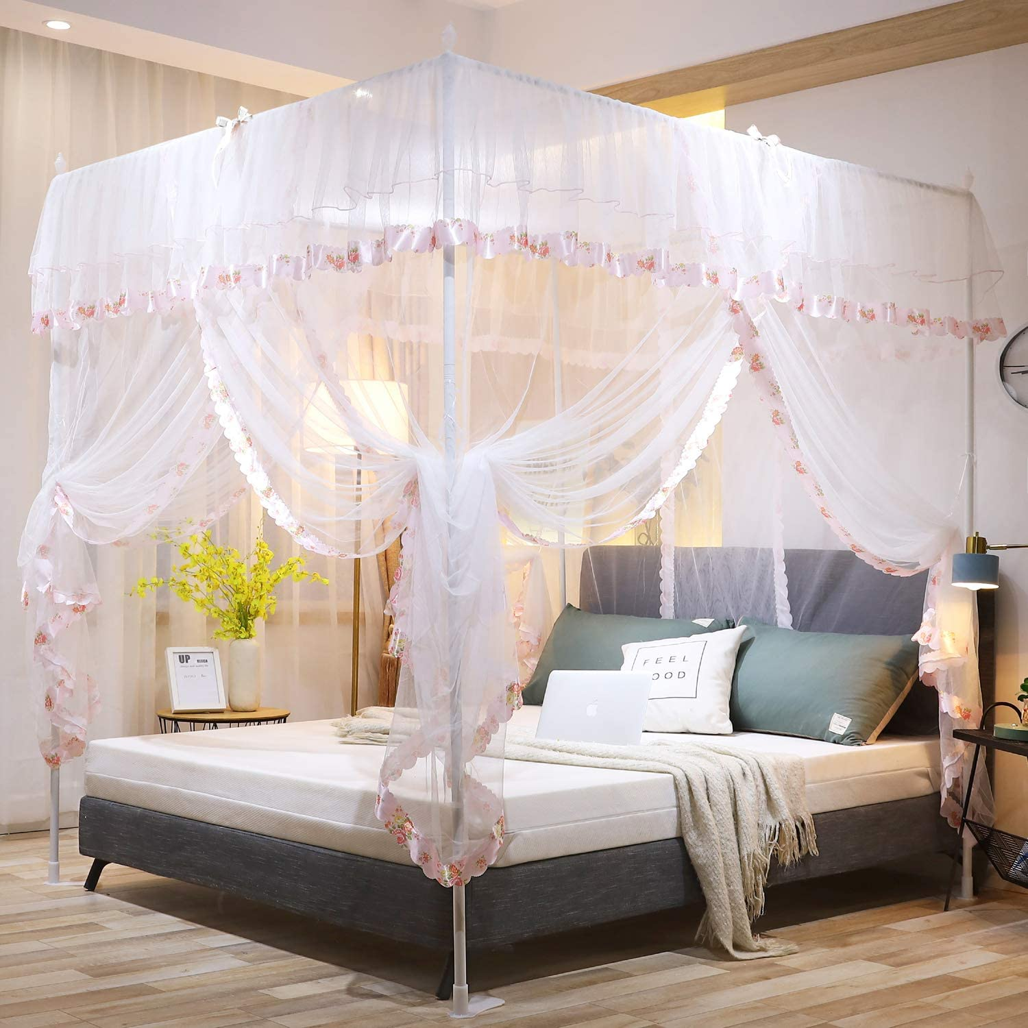 Twin, Pink Mengersi 4 Corners Post Canopy Bed Curtain for Girls Boys Adults Gift