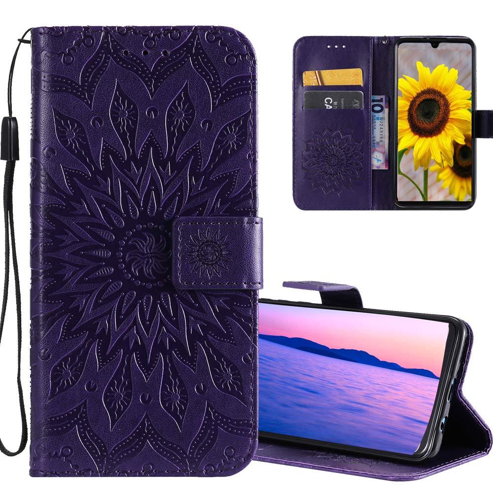 6.1 inch Gray Sunflower KT. COTDINFOR iPhone 11 Custodia Premium PU Leather Mandala Fiore Elegante Wallet Custodia a Rilievo Custodia Flip Case con Kickstand Card per iPhone 11