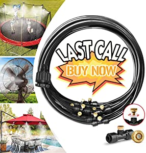 Landgarden Outdoor Misting Cooling System,49FT Misting Line,15 Brass Mist Nozzles for Patio Garden Greenhouse