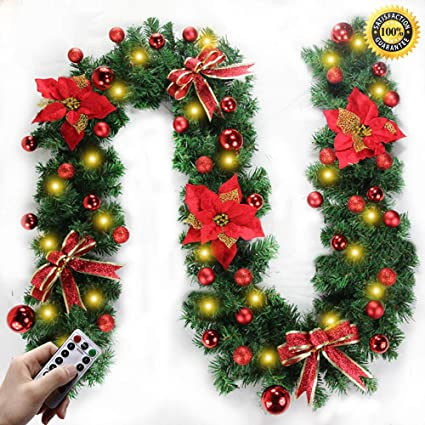 Morbuy Christmas Garland Decorations 2 7m Fireplaces Stairs Decorated Garlands 8 Mode Wreath Led Lights Illuminated Baubles Flower Ball Xmas Tree