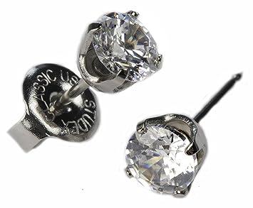 e0dd92131 Amazon.com: Ear Piercing Studs Earrings Silver 5mm Clear CZ ...