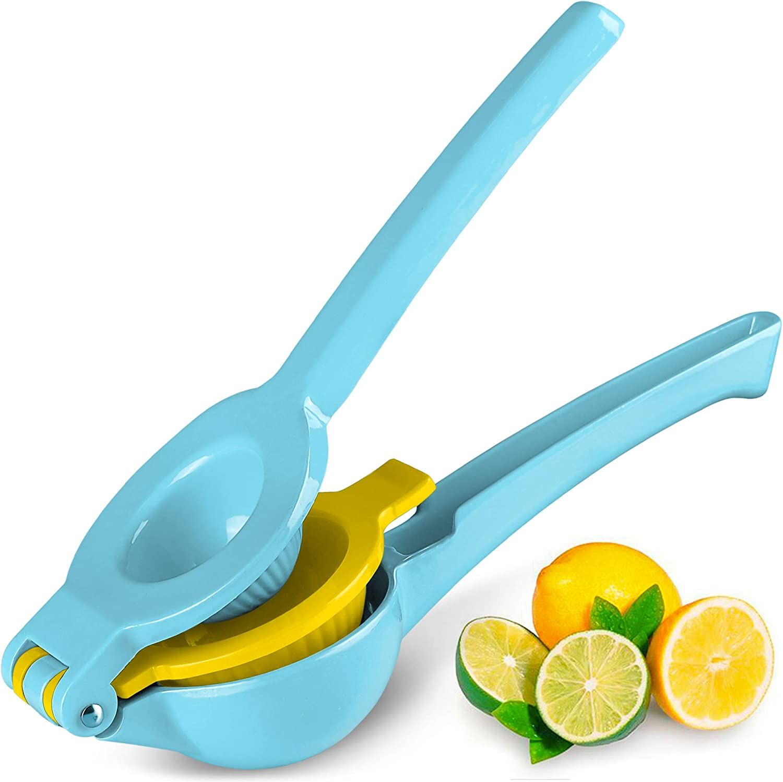 Top Rated Zulay Premium Quality Metal Lemon Lime Squeezer - Manual Citrus Press Juicer (Blue Yellow)