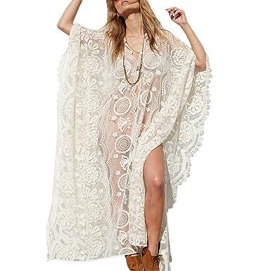 0a97444c420da Moichien Women Summer White Lace Maxi Shawl,Swim Sexy White Crochet Lace  Cover Up, Bohemia Swimuit Cover UPS Beach Cardigan: Amazon.co.uk: Clothing