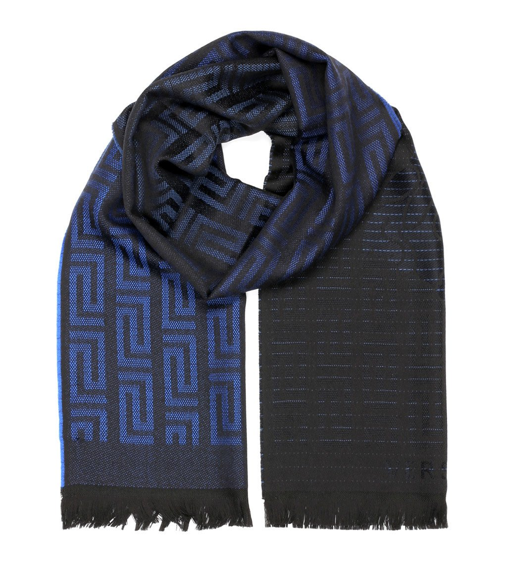Versace Collection Blue Black Medusa Geometric Scarf