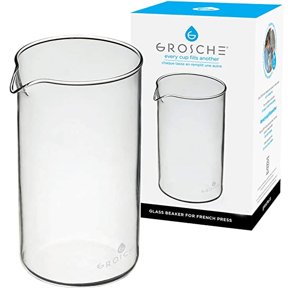 GROSCHE Replacement Universal Beaker for French Presses, 350 ml/11.8 fl. Oz, Borosilicate, Heat-Resistant Glass, for GROSCHE & Other French Presses