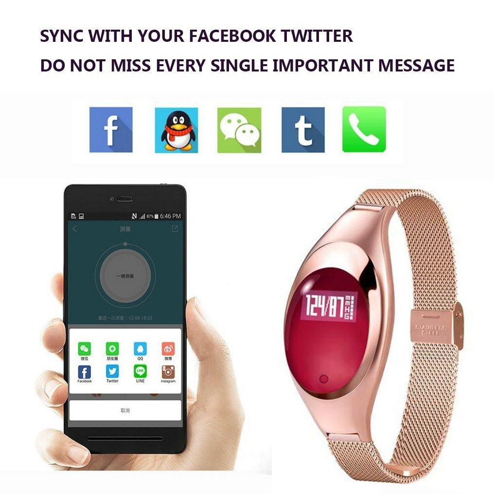 JIAMEIYI Moda Z18 SmartWatch Monitor de Presión Arterial y Oxígeno Monitor de Ritmo Cardíaco con Bluetooth Impermeable Diariamente (Oro)