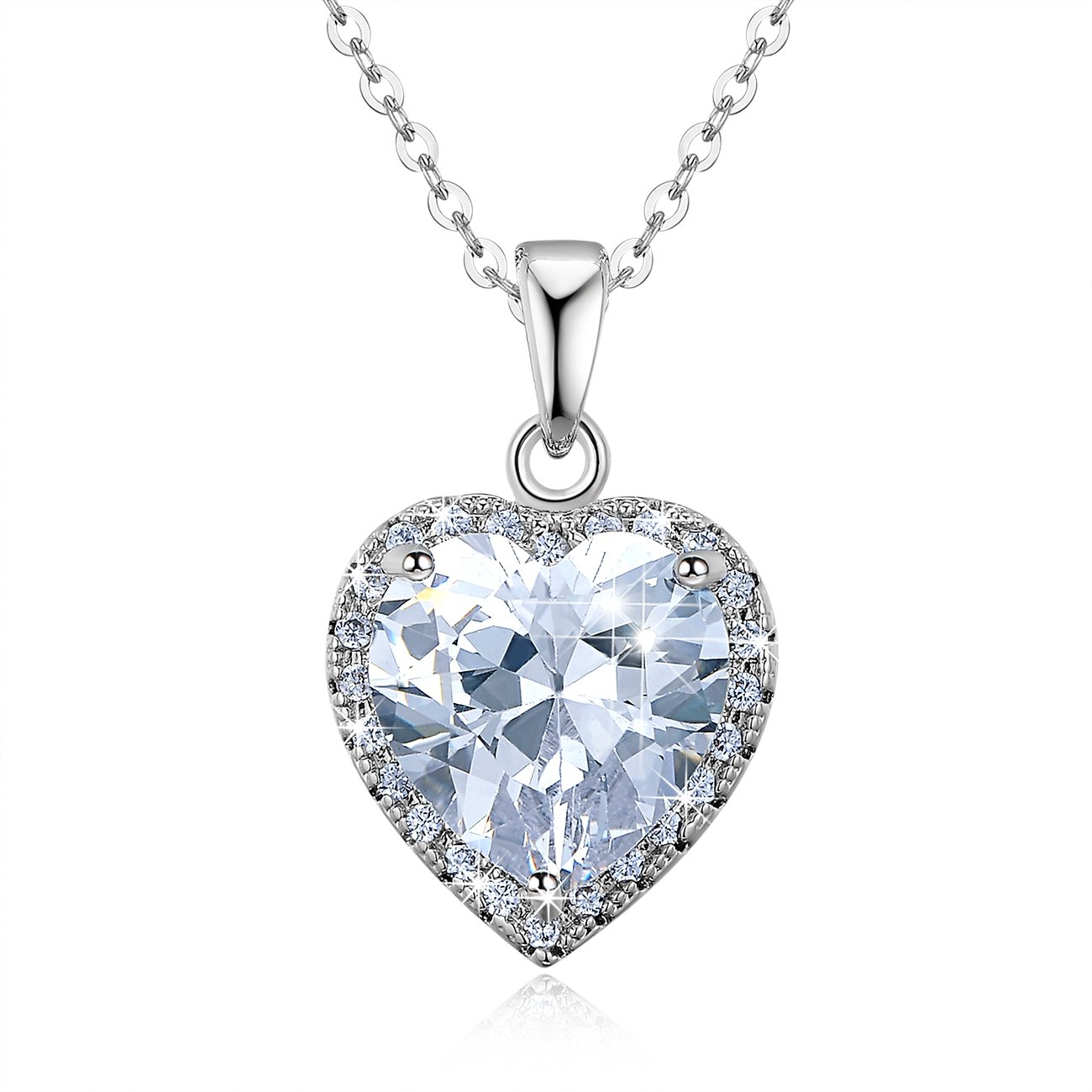 Heart-Shaped Pendant NinaMaid Brave Love Sparkling Created White Crystal Gold Plated Necklace 18 Inch