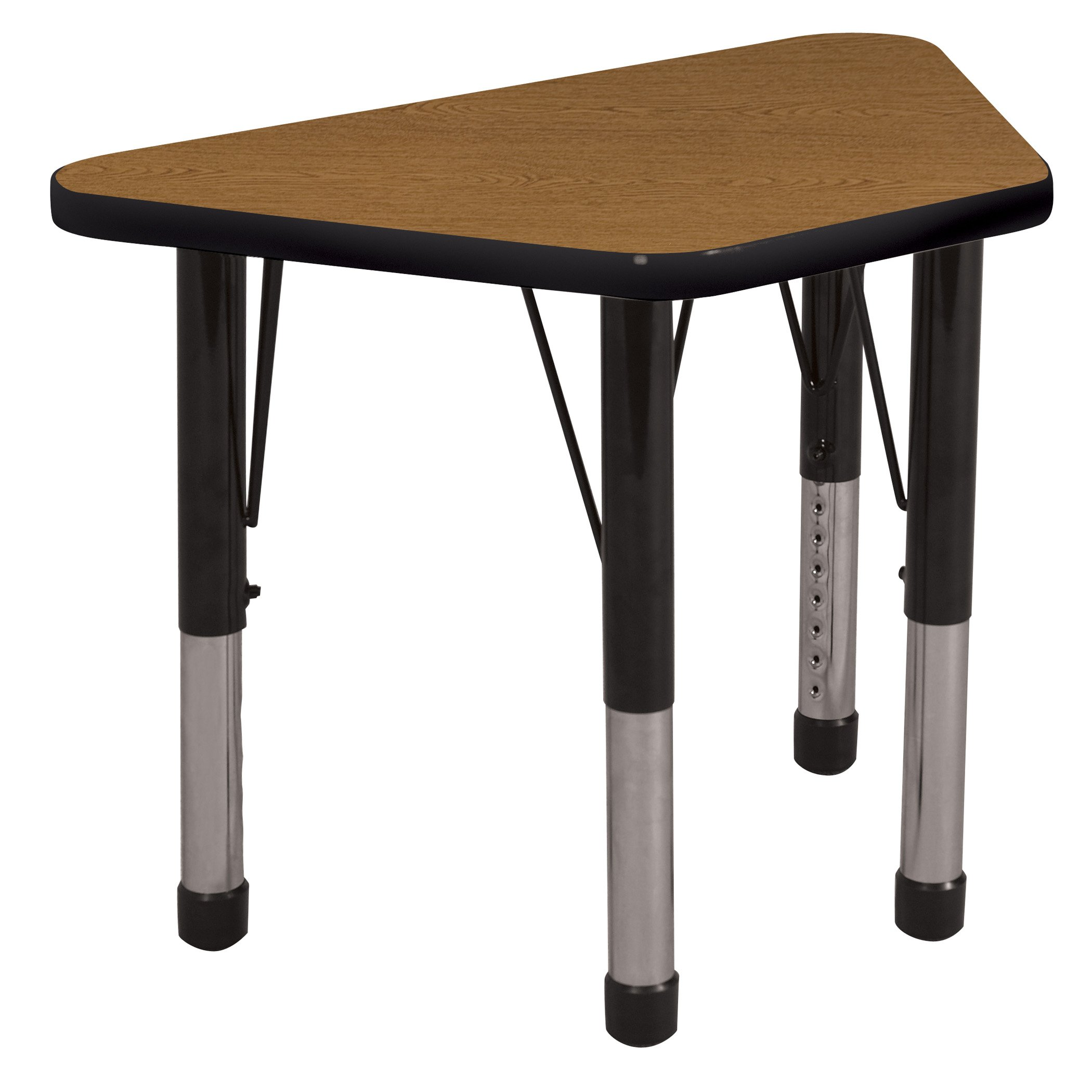 ECR4Kids Everyday T-Mold 18'' x 30'' Trapezoid Activity School Table, Chunky Legs, Adjustable Height 15-24 inch (Oak/Black)
