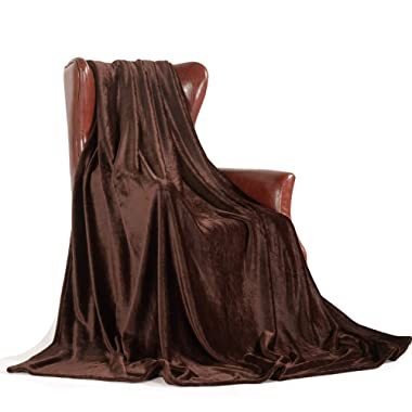 MERRYLIFE Throw Blanket for Couch Soft Fall Throws|Decorative,Ultra-Plush, Colorful, Oversized |Travel Outdoor Home Use | Queen Size(90  90 , Brown)