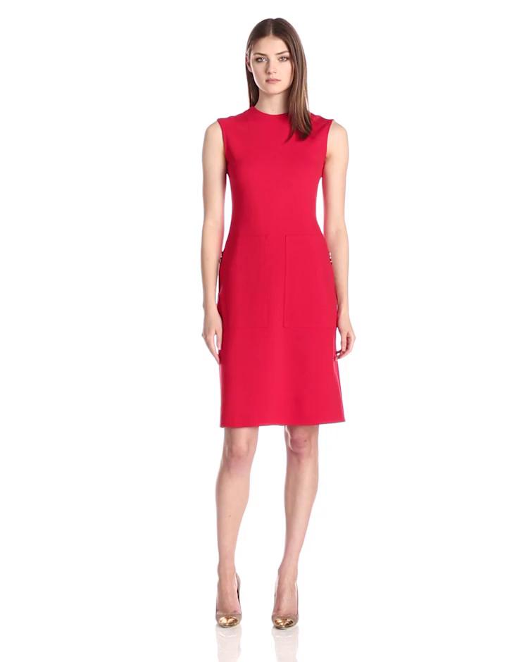 Anne Klein Women's Sleeveless Zip Pocket Dress, Red, 16