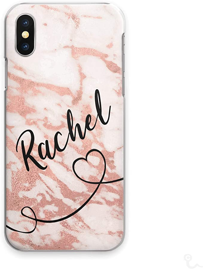 Personalised Initials Phone Case Black Heart Side Name on Grey and White Marble Hard Cover for Oppo F1s