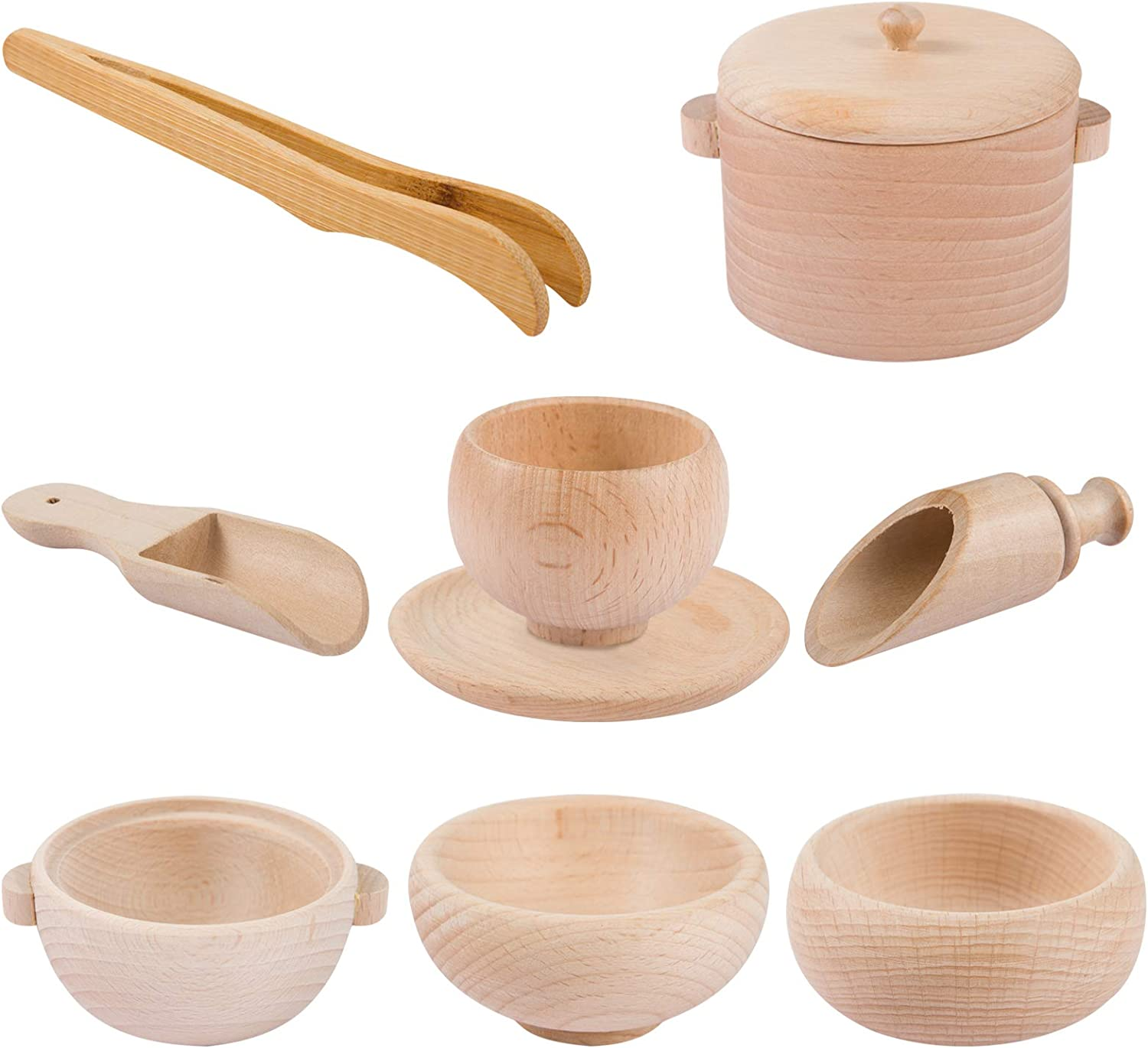 Set of 8 Toddlers Montessori Sensory Bin Tools- Wooden Waldorf Toys Dish Scoops and Tongs Set Educational Fine Motor Training Toys for Preschool Kids Children Toddlers Motor Transfer Work Learning
