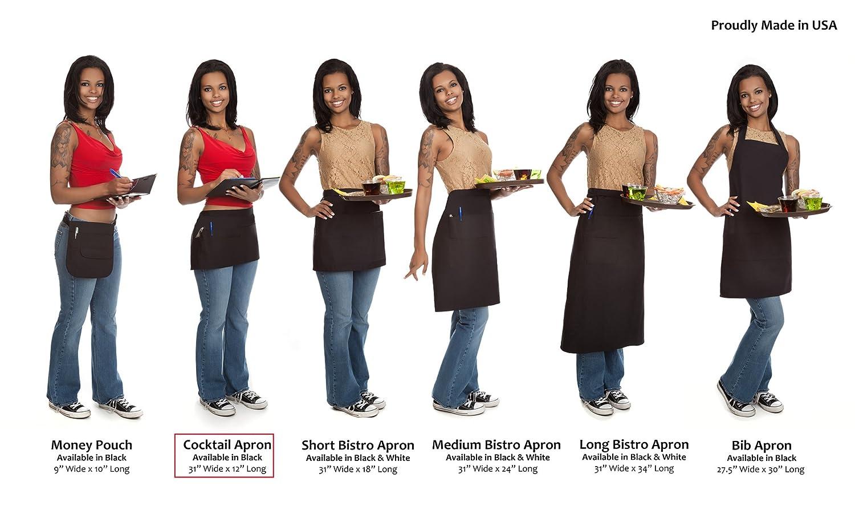 White apron amazon.ca - Restaurant Bistro Waiter Waitress Black Waist Apron Short Cocktail Length With Multiple Pockets Amazon Ca Home Kitchen