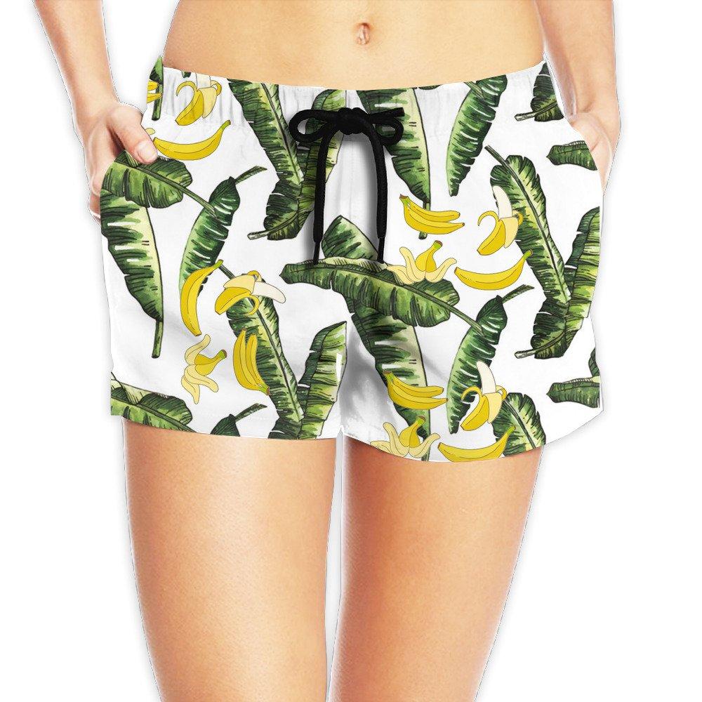 Banana Printed Hawaiian Style Juniors Oceanside Short Elastic Waist Activewear Lounge Shorts 100% Polyester XL by FDG