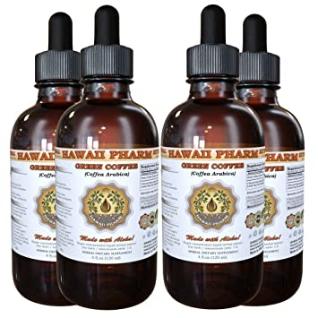 Green Coffee Tincture, Green Coffee (Coffea Arabica) Bean Powder Liquid Extract 4x4 oz