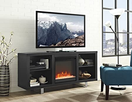 New 58 Inch Simple Modern Fireplace Television Stand in Black Finish