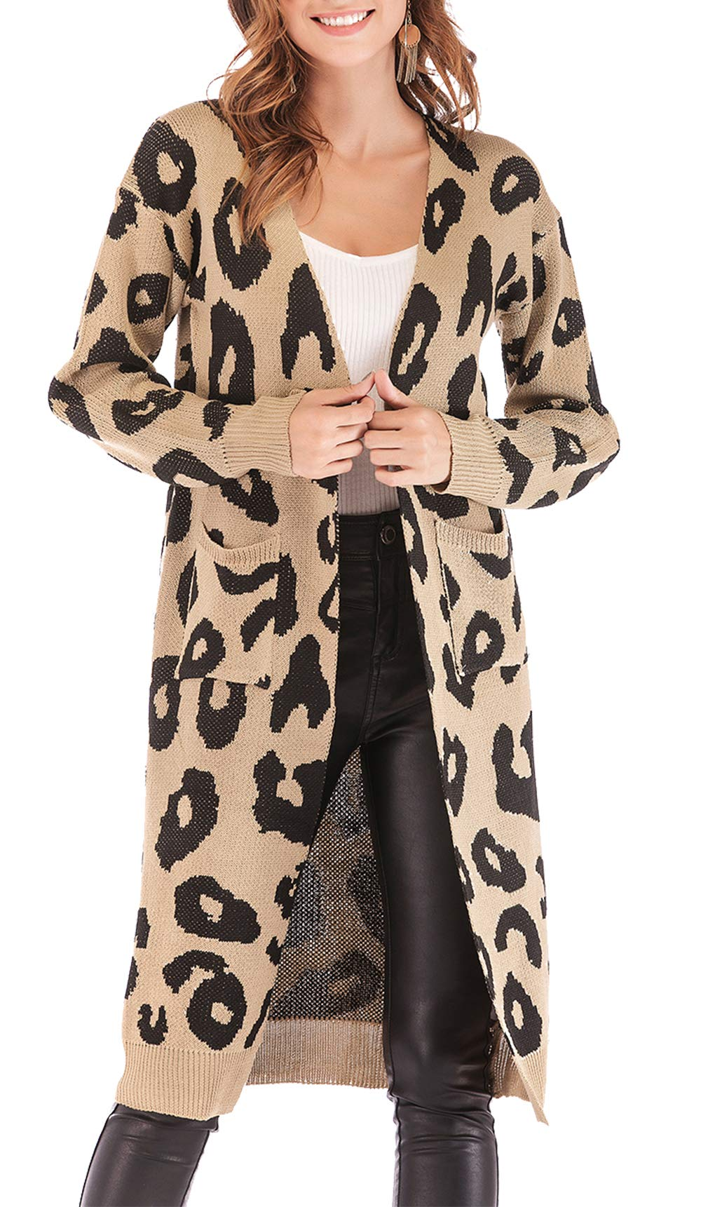BTFBM Women Long Sleeve Open Front Leopard Knit Long Cardigan Casual Print Knitted Maxi Sweater Coat Outwear with Pockets (Khaki, Small) by BTFBM