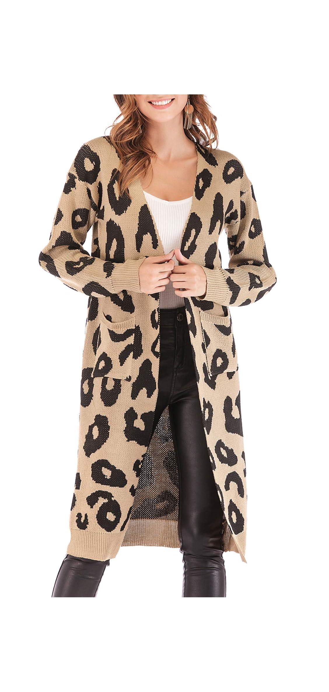 Women Long Sleeve Open Front Leopard Knit Long Cardigan