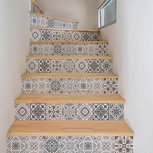Ambiance Sticker Pegatinas para escaleras, Azulejos de Cemento, Adhesivos para baldosas de Cemento – Adhesivos para contramarca, baldosas de Escalera, Azulejos – 15 x 105 cm – 4 Tiras: Amazon.es: Hogar