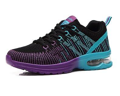 Donna Scarpe da Running Sportive Corsa Sneakers Ginnastica Outdoor  Multisport Shoes Nero 35 aff2312fcaf